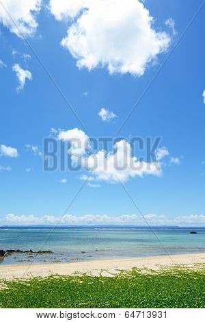 The blue sea and sky in Okinawa