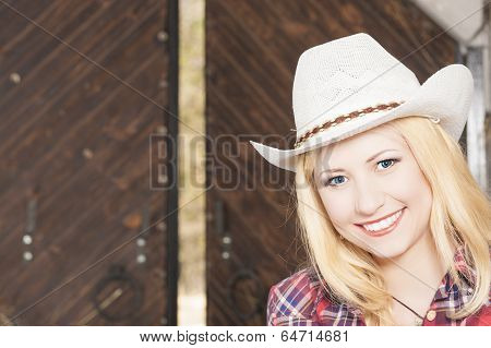 Beautiful Sensual Smiling Happy Blond Cowgirl Wearing hat