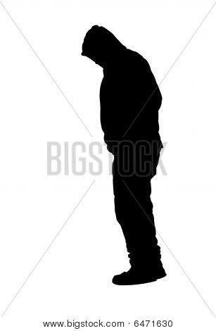 Man Standing Wearing Sweatshirt With Hood Silhouette