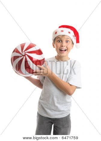 Child Boy Holding Christmas Bauble Decoration