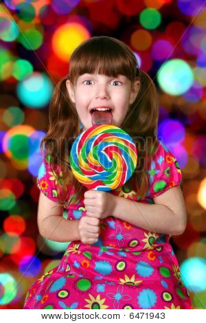 Bright And Colorful Happy Little Girl