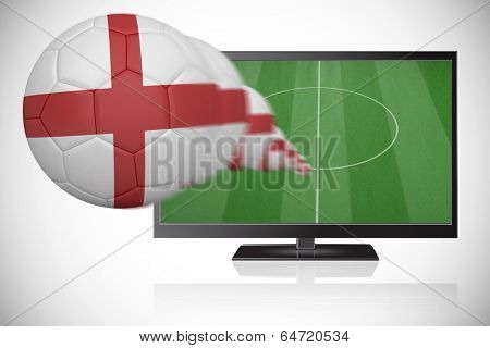 Football in england colours flying out of tv against white background with vignette
