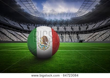 Football in mexico colours in vast football stadium with fans in white
