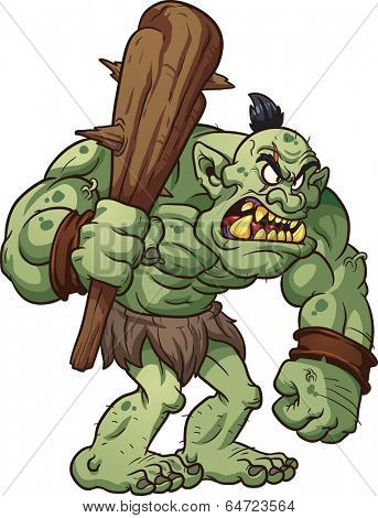 Big cartoon troll holding a club. Vector clip art illustration with simple gradients. All in a single layer.