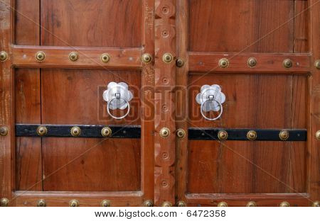 Beautiful Wooden Door With Silver Handles. Pushkar, India