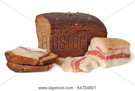 salted pork fat and Borodinsky rye bread isolated on white background