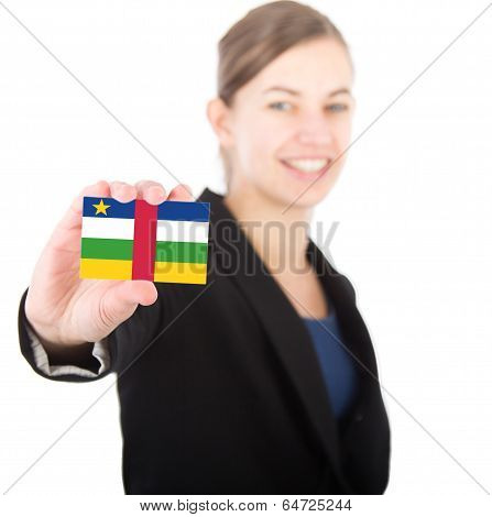 Business Woman Holding A Card With The Flag Of Central African Republic