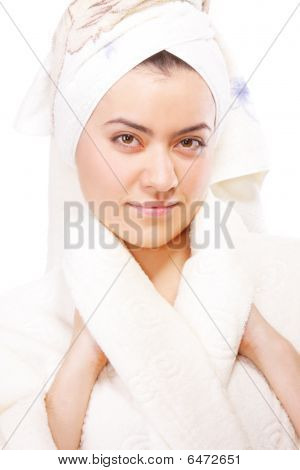 Serious Woman In Bathrobe