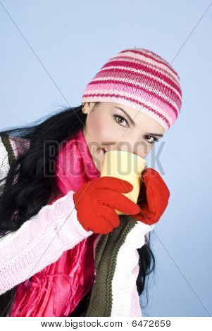 Beautiful Winter Woman Heat Up
