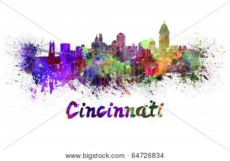 Cincinnati Skyline In Watercolor