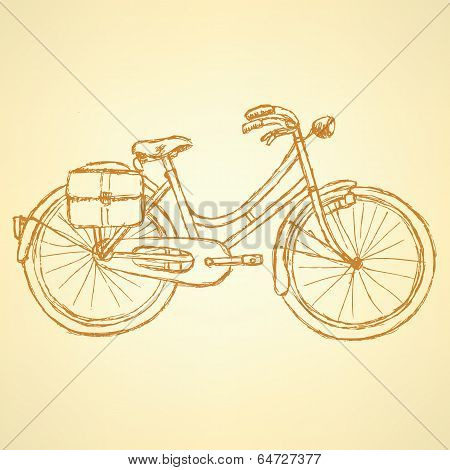 Sketch Bicycle, Vector Vintage Background