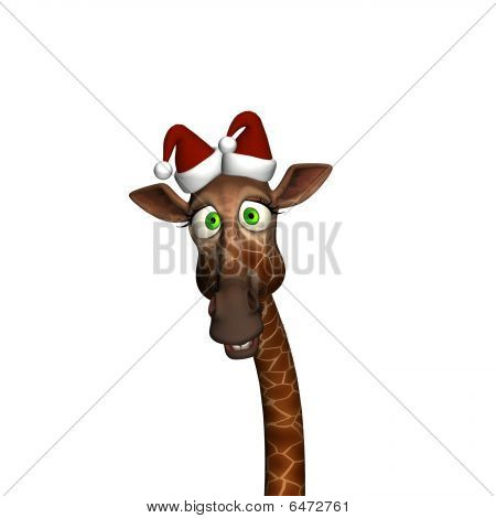 Giraffe Wearing Santa Hats