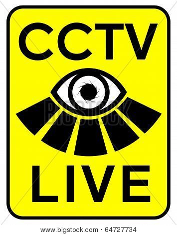 Cctv Live Sign With Eye Motif