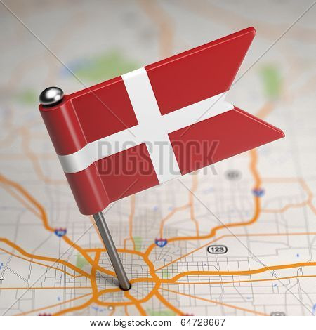 Order of Malta Small Flag on a Map Background.