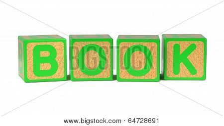 Book on Colored Wooden Childrens Alphabet Block.
