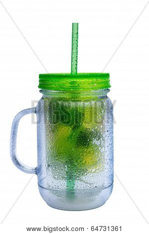 Glass Jar Of Iced Water With Mint And Lemons