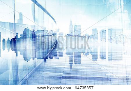 Abstract View of Urban Scene and Skyscrapers