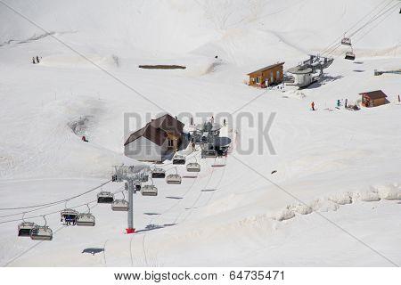 Chairlift on a ski resort Krasnaya Olyana (Sochi, Russia)