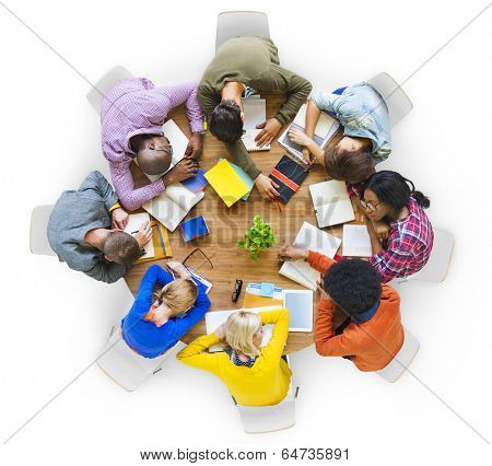 Group of Tired Students Sleeping on the Table