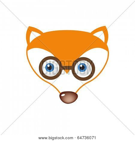 Clever Fox face in eyeglasses. Vector illustration for your design