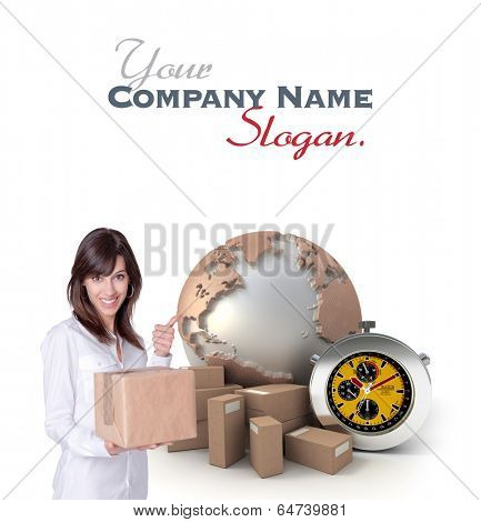 Happy young woman holding a box with a transportation related background
