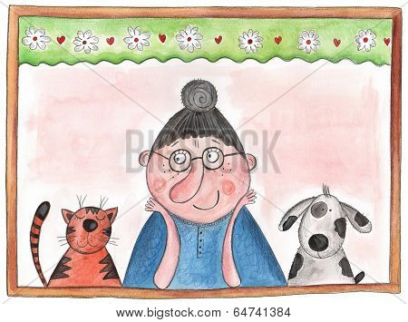 Lady, cat and dog sitting at the window