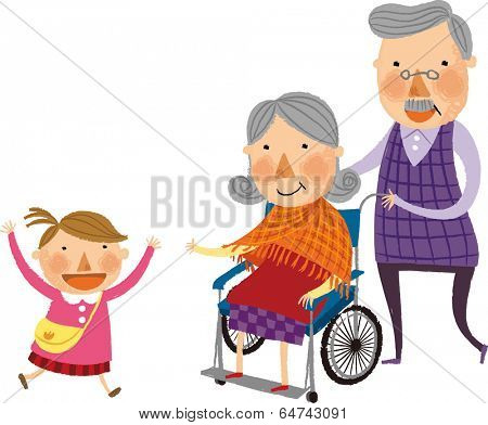 The child is running to grandmother