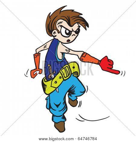 little pirate boy jumping cartoon illustration