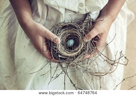 Girl Holding Blue Speckled Egg In Bird Nest On Lap