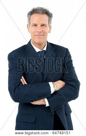 Portrait Of Satisfied Mature Businessman Looking At Camera Isolated On White Background