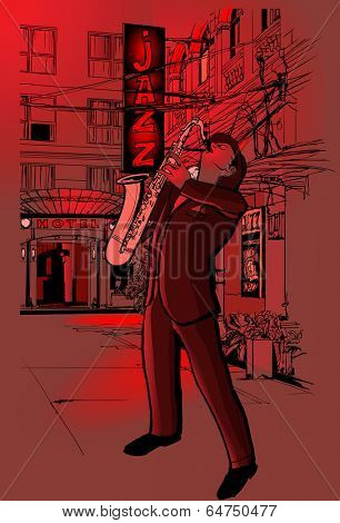 Vector illustration of saxophone player in a street at night