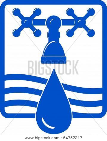 water Drop And Spigot Blue Icon
