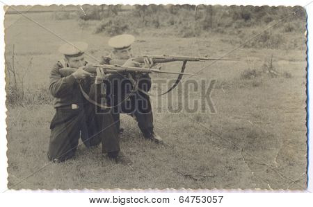 Baltic Sea Fleet sailors with rifles