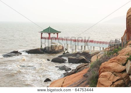 Chinese Pergola On The Sea Coast In Macao