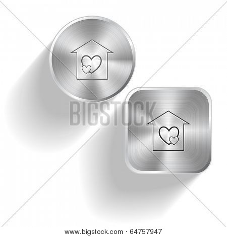 Orphanage. Vector set steel buttons