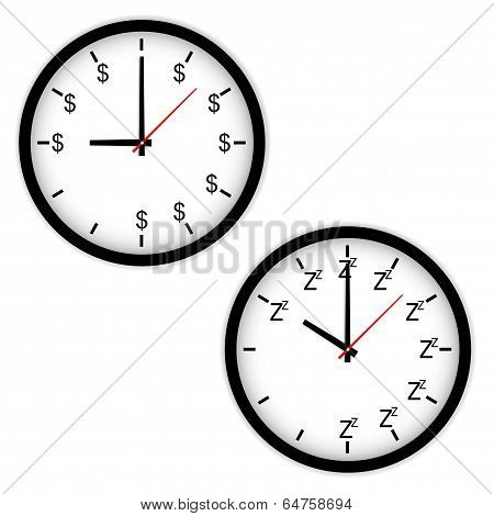 The Clock Concept With Time To Work And Sleep