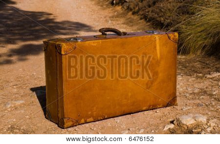 Old And Worn Retro Suitcase