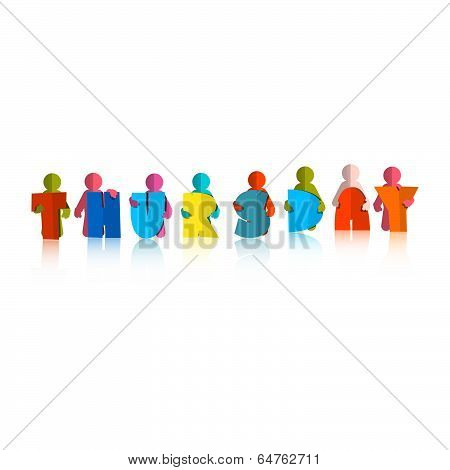 Thursday Colorful Title - Paper Cut People and Letters on White Background
