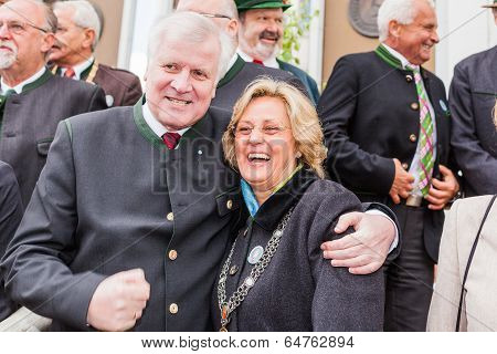 Miesbach / Germany / Bavaria - 05.May: Bavarian Prime Minister Horst Seehofer and Miesbacher Mayor I