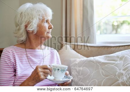 A mature woman  holding a cup and saucer while looking out the window with copyspace
