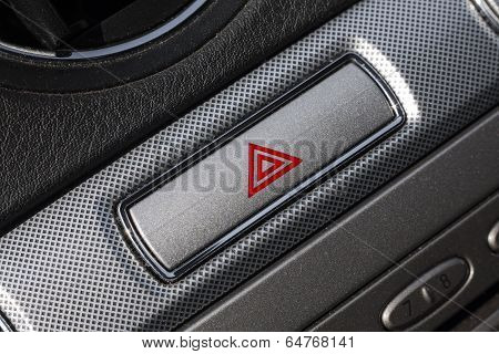 Red hazard in car interior.
