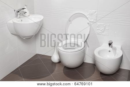 Detail Of A Luxurious Bathroom With Modern Toilet, Sink And Bidet