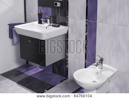 Detail Of A Luxurious Bathroom With Sink And Bidet