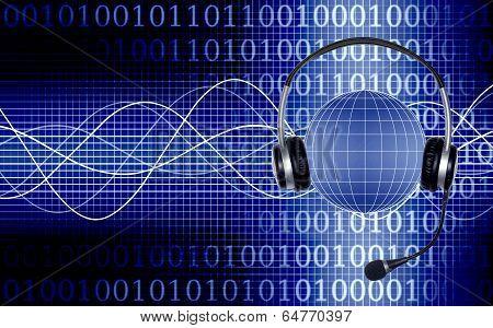 Collage Headphones And Globe