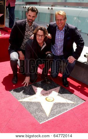 LOS ANGELES - MAY 9:  Jason Thompson, Rick Springfield, Doug Dvidson at the Rick Springfield Hollywood Walk of Fame Star Ceremony at Hollywood Blvd on May 9, 2014 in Los Angeles, CA