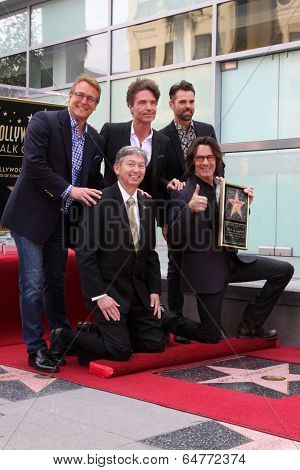 LOS ANGELES - MAY 9:  Doug Davidson, Richard Marx, Jason Thompson, Leron Gubler, Rick Springfield at the Rick Springfield Hollywood WOF Ceremony at Hollywood Blvd on May 9, 2014 in Los Angeles, CA