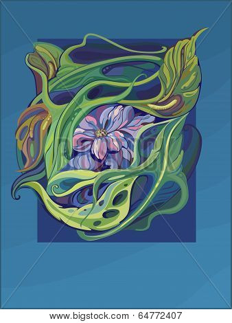 Card Art Nouveau With Water Lily