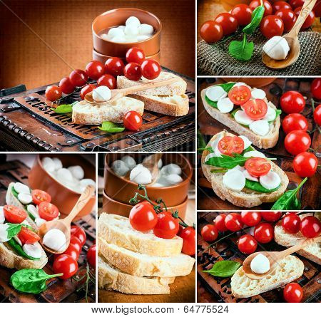 Mozzarella, tomatoes and bread. Italian food