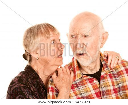 Senior Woman Sharing Information With Skeptical Man
