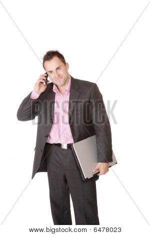happy Businessman holding Laptop-computer